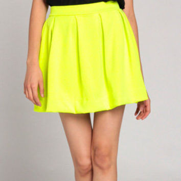 Skater Skirt in Neon Yellow on Wanelo