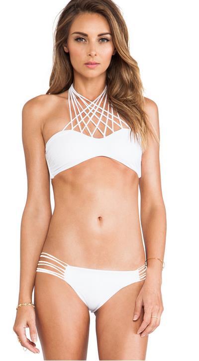 177e6d89cc05 Sexy Strappy Bikini Swimwear Women White Swimsuit Bikini Set Bathing Suit  Swim Suit Biquinis Women Moda ...