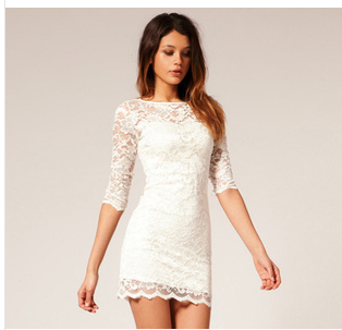 Whole sale  new 2014 women summer dress white and black half sleeve lace mini dresses-in Dresses from Apparel & Accessories on Aliexpress.com