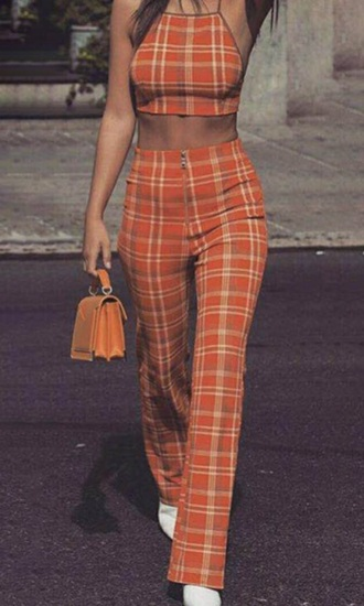 jumpsuit girly orange two-piece matching set plaid crop tops cropped crop pants