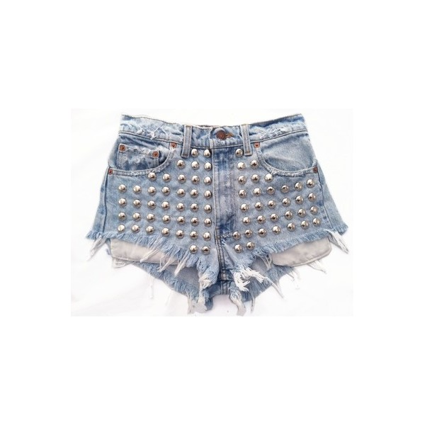 Stellar Short studded cut off shorts - Polyvore