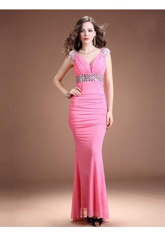 pink evening dresses v-neck evening dresses
