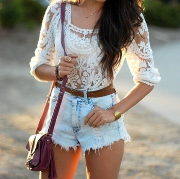 blouse white white lace white lace white shirt summer shirt hite lace shirt lace shirt brown leather belt red leather bag blue jean shorts denim shorts jeans shorts cut off shorts lace summer top gold bracelet jewels bag shirt lace