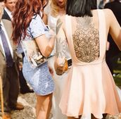 dress,pink,hannah pixie snowdon,bring me the horizon,peach,backless dress,pastel pink,tattoo