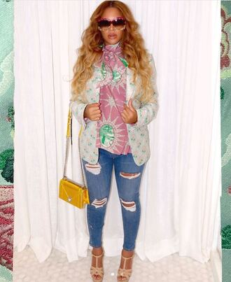 jeans jacket beyonce maternity instagram purse sunglasses sandals sandal heels shoes