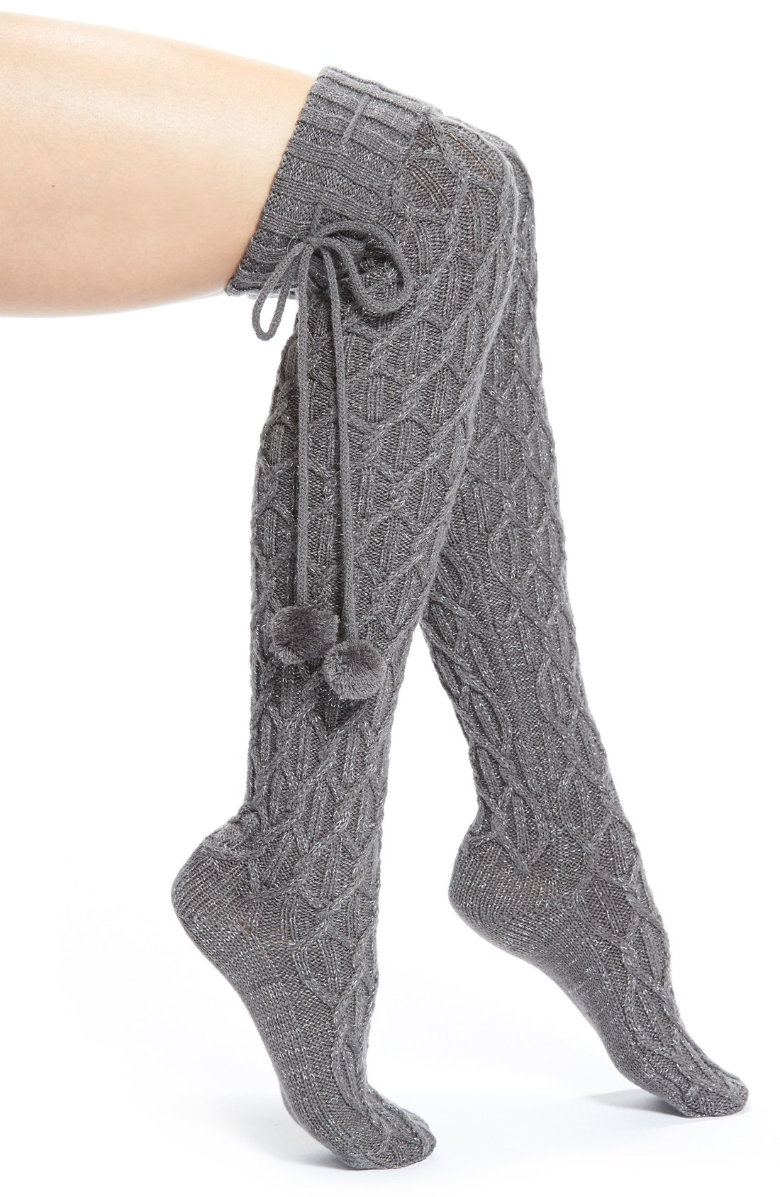 Knitting Pattern For Over The Knee Socks : UGG  Australia Pompom Cable Knit Over the Knee Socks ...