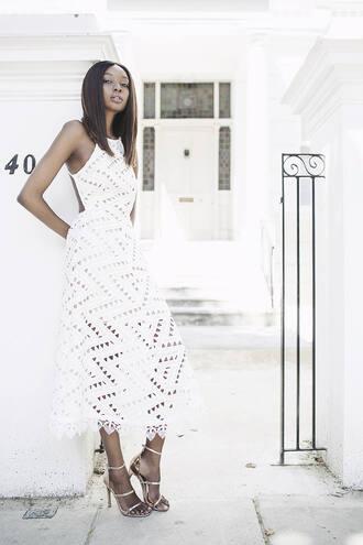 bisous natascha blogger romantic summer dress crochet dress white lace dress white dress metallic shoes gold shoes sandal heels summer dress date outfit
