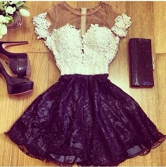 dress white black nude skin lace diamanté diamonds shiny glitter prom party formal occasion layer layers layered net garden music fashion style elegant sexy trendy lace dress lace top purple dress