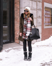 visions of vogue,blogger,jacket,scarf,top,leggings,shoes,bag,sunglasses,beanie,boots,duck boots,winter outfits