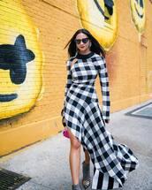 dress,checkered dress,asymmetrical dress,long sleeve dress,cut offs,handbag,boots,balenciaga,heart sunglasses,earrings