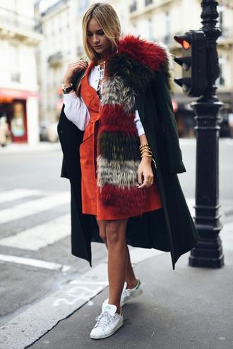 en vogue coop blogger faux fur suede dress fur scarf green long coat striped scarf orange orange dress shirt white shirt long coat green coat