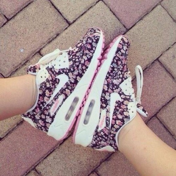 floral air max nike air shoes nike cute like in little great beautiful print nice nike airmax shoes, pink, purple, nike, cute, shoes, girl floral nike shoes air max 90 swag