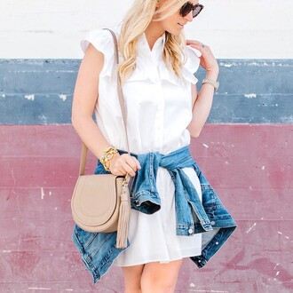 dress tumblr mini dress white dress sleeveless sleeveless dress shirt dress bag nude bag jacket denim jacket sunglasses spring outfits spring dress
