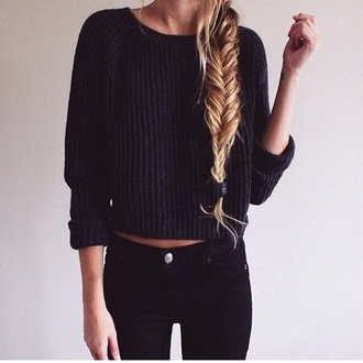 sweater pants pullover black