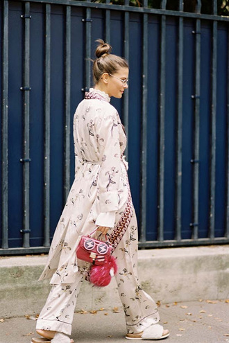 vanessa jackman blogger shirt pants pajamas blouse top slide shoes slippers red bag