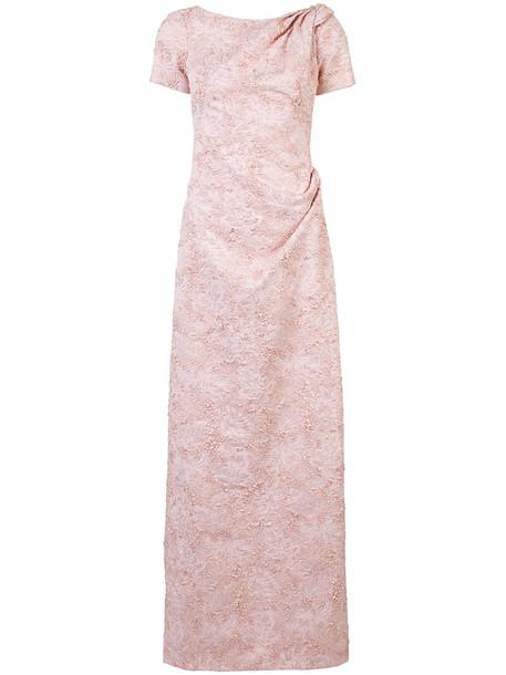 Carolina Herrera dress women embellished silk purple pink
