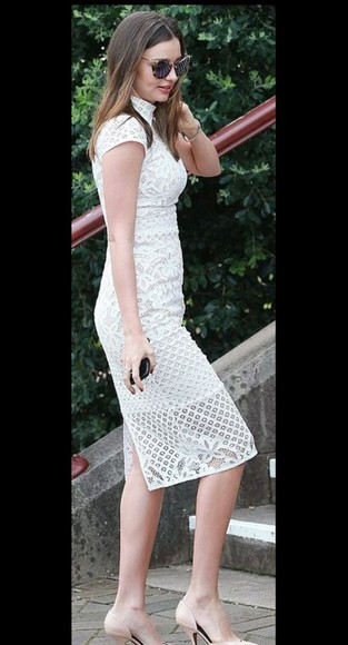 miranda kerr dress sunglasses lace dress white dress prom dress