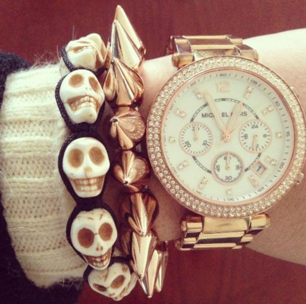 jewels cute jewelry skull skull bracelet spike watch gold watch luxury gold jewelry spiked bracelet
