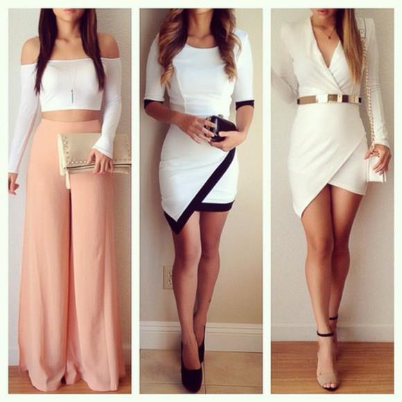 white bag golden belt top dress white dress little black dress white and black dress