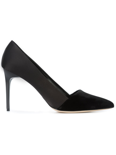 oscar de la renta women pumps leather black velvet satin shoes
