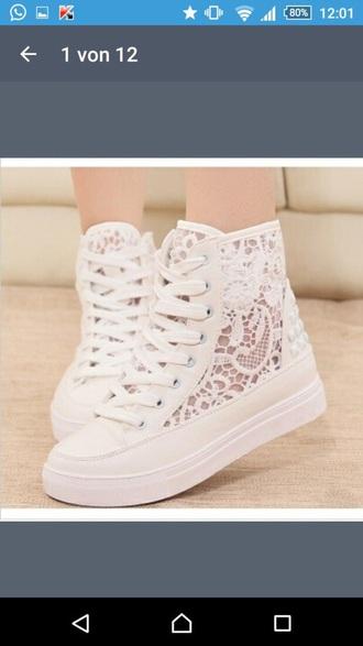 shoes white shoes pretty shoes white pretty shoes lace up mesh mesh shoes flower shoes flowered white flowers