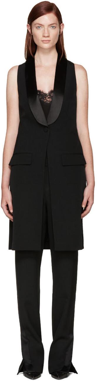 vest black wool jacket