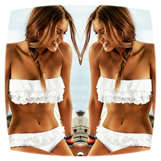 swimwear beach bikini lace water cute white fashion summer hot