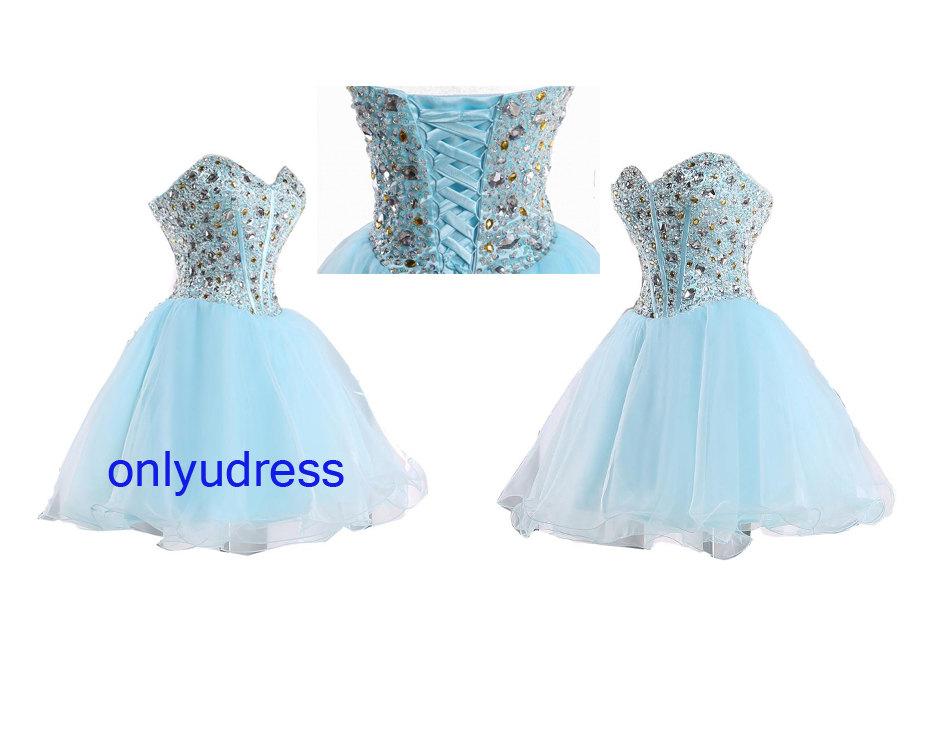 Light blue homecoming dress, short homecoming dress, organza homecoming dress, custom homecoming dress, formal beading homecoming dress 5227