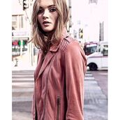 jacket,as by df,leather,leather jacket,pink,blush,rose gold,pink leather jacket,chic,streetstyle,biker jacket,pantone 2016,36683
