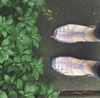 shoes lilac purple jellies sandals sparkle