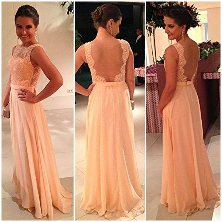 Aliexpress.com : Buy 2014 Straight High Neckline Backless Lace Chiffon Evening Dresses Online Shop from Reliable dress standard suppliers on Jacky Fashion Bridal