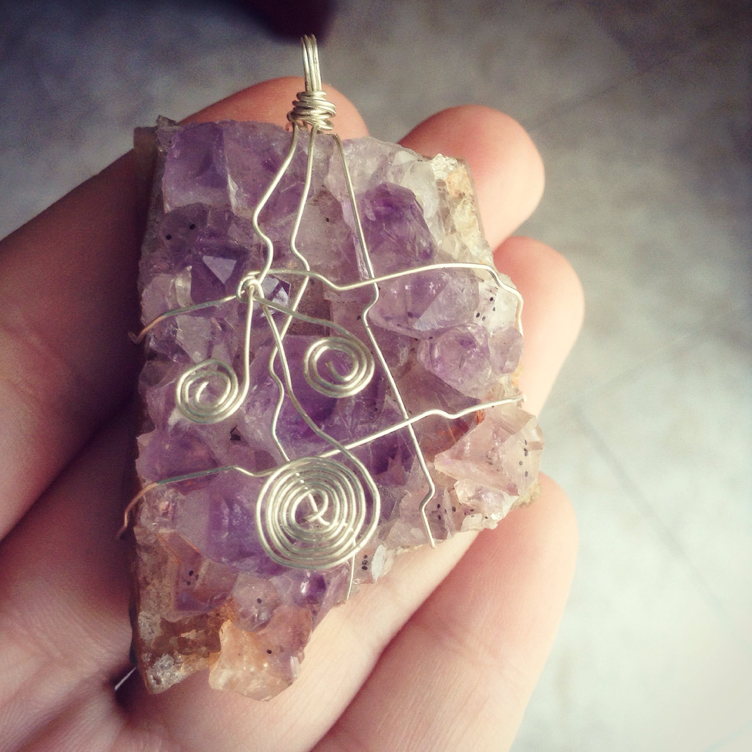 Natural raw lavender amethyst citrine pendant necklace - Wire Wrapped Silver - Choose your own chain