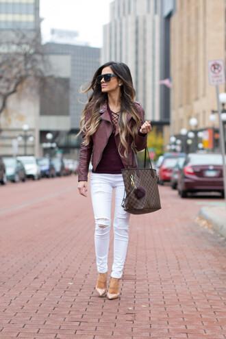 maria vizuete mia mia mine blogger top jacket jeans shoes bag sunglasses