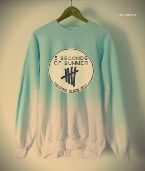 blouse 5 seconds of summer sweater jacket jumper top blue shirt white shirt