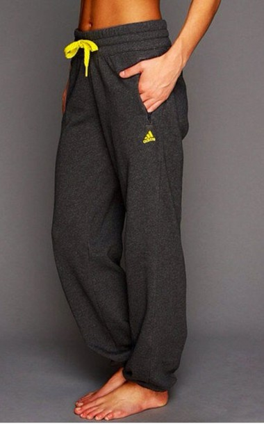 Pants nike yellow grey sweatpants grey sweatpants lazy day adidas pretty cute lovely ...