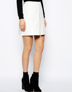 ASOS | ASOS A-Line Leather Skirt With Pleat at ASOS