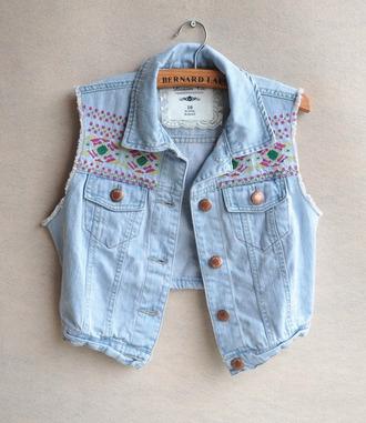 jacket denim waistcoat embroidered inka inca fashion vest