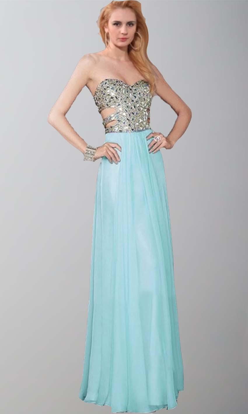 Cut Out Sweetheart Glitter Long Teal Prom Dresses UK KSP395 ...