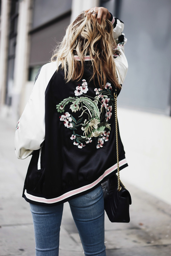 Jacket tumblr bomber satin black