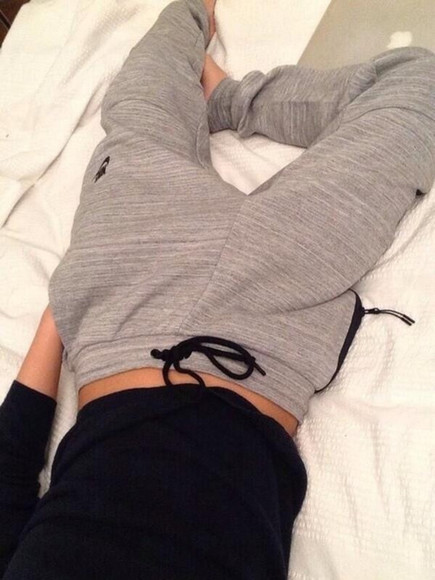 grey pants althletic sweatpants flowy top comfortable