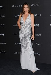 dress,silver,sparkle,sparkly dress,gown,prom dress,cindy crawford