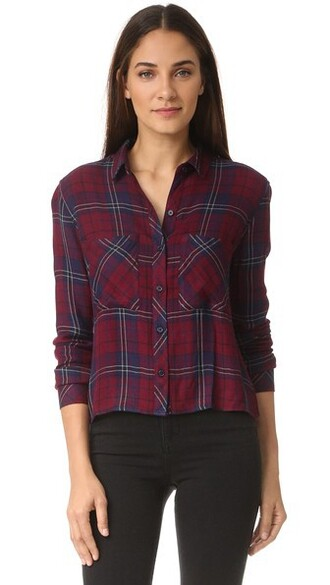 shirt button down shirt navy oxblood top