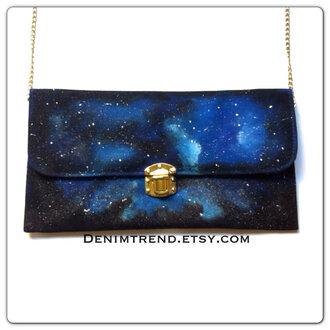 bag clutch galaxy print cosmos universe
