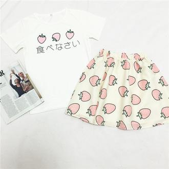 t-shirt pink japanese kawaii outfit white strawberry girl women skirt harajuku