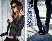 kenza,blogger,bag,shoes,hat,peep toe boots,black ripped jeans,snake print,perfecto,black,sandals,black boots,leather,grunge,black shoes,pale