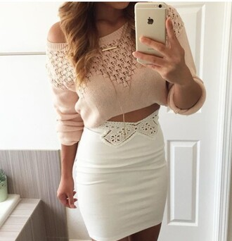 top skirt sweater cropped sweater crop tops crochet mini skirt lace skirt high waisted skirt outfit white skirt