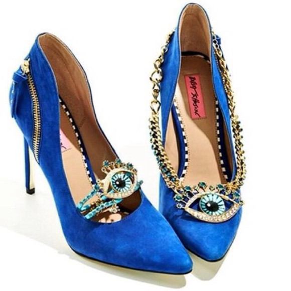 high heels blue shoes blue heels designer jewels chain eye betsy johnston
