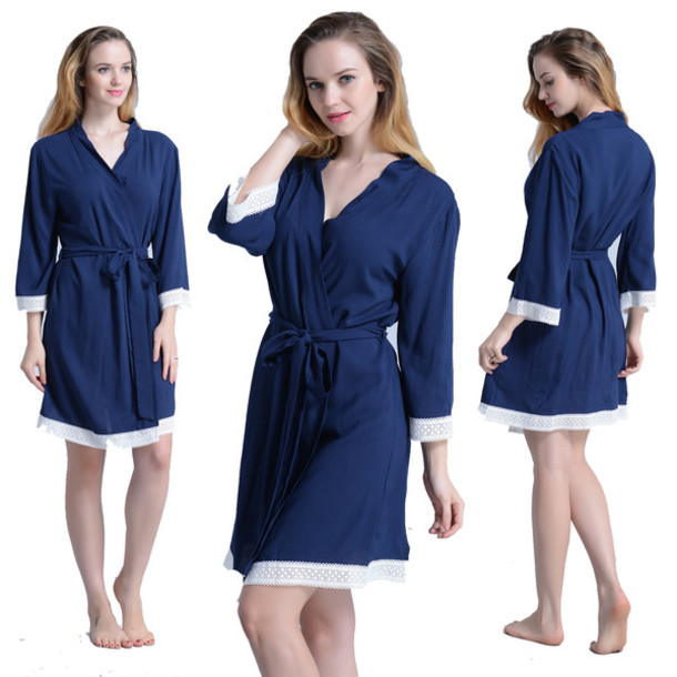 pajamas navy kimono robes bridesmaid robes spa robes cotton robes