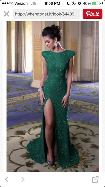 dress emerald green dress long dress slit dress @poisongreen formal dress
