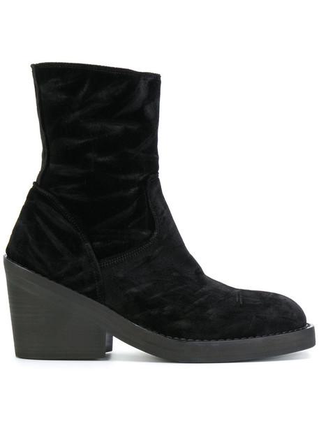heel chunky heel women ankle boots leather black velvet shoes